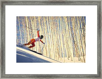 Skiing In Aspen, Colorado Framed Print by Travel Pics