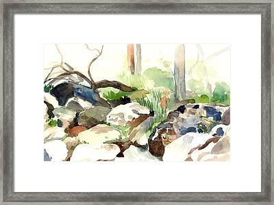 Skipping Rocks Framed Print by Linda Berkowitz