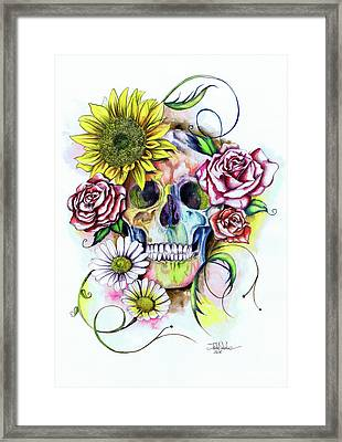 Skull And Flowers Framed Print by Isabel Salvador