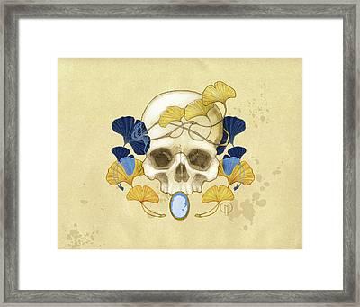 Skull And Ginkgo Framed Print by Catherine Noel