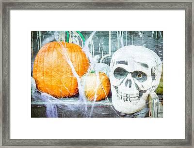Skull And Pumpkin Framed Print by Tom Gowanlock