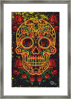 Skull And Roses Framed Print by Josh Brown