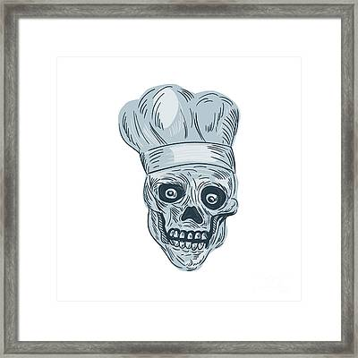 Skull Chef Cook Drawing Framed Print by Aloysius Patrimonio