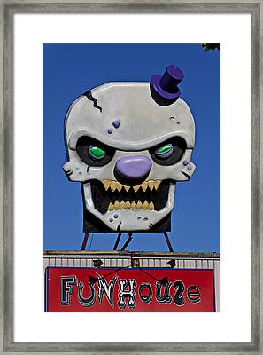 Skull Fun House Sign Framed Print by Garry Gay