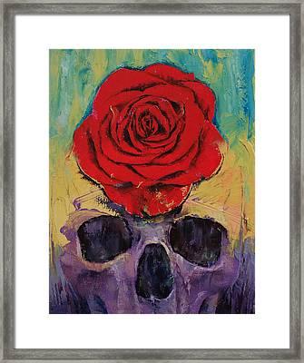 Skull Rose Framed Print by Michael Creese