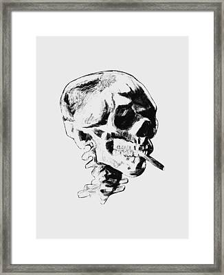 Skull Smoking A Cigarette Framed Print by War Is Hell Store