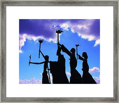 Sky Statues Framed Print by Perry Webster