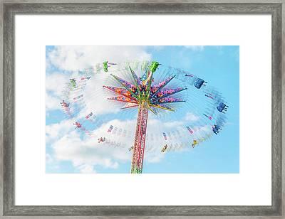 Sky Flyer Ride At Minnesota State Fair Framed Print by Jim Hughes