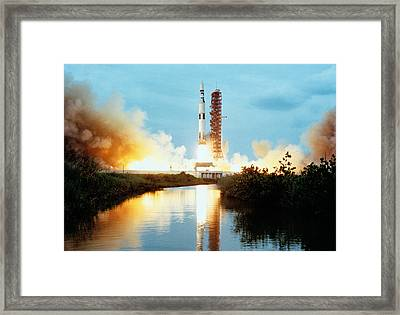 Skylab Space Station - Saturn V Launch Framed Print by War Is Hell Store