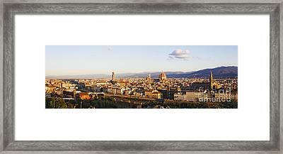 Skyline Of Florence From The Piazza Michelangelo At Dawn Framed Print by Jeremy Woodhouse