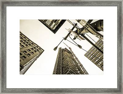 Skyscrapers In New York Seen From Framed Print by Perry Van Munster