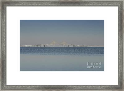 Skyway Bridge In Blue Framed Print by David Lee Thompson