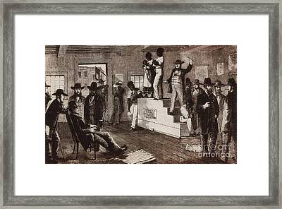 Slave Auction In Virginia Framed Print by Photo Researchers