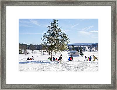 Sledding - Winter At Valley Forge Framed Print by Bill Cannon
