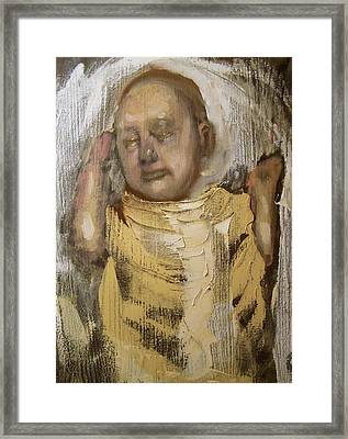 Sleeping Baby In Golden Cloth Framed Print by Derek Van Derven