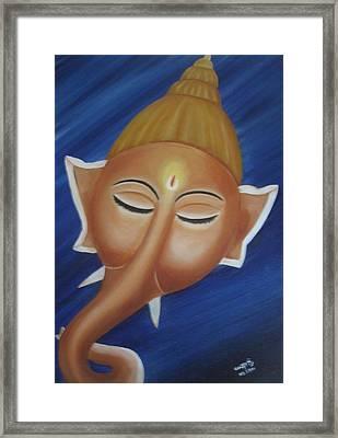 Sleeping Ganesha Framed Print by Usha Rai
