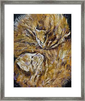 Sleeping Kittens Framed Print by Michael Creese