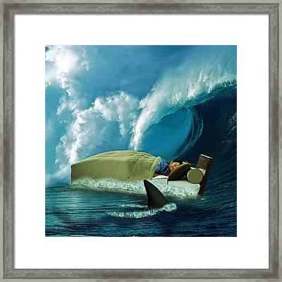 Digital Manipulation Framed Print featuring the digital art Sleeping With Sharks by Marian Voicu