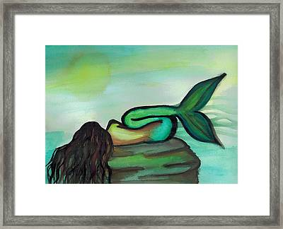 Sleepy Mermaid Framed Print by Kayla Roeber