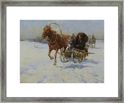 Sleigh Ride Framed Print by Alfred Kowalski