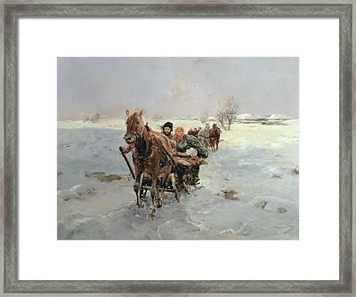 Sleighs In A Winter Landscape Framed Print by Janina Konarsky