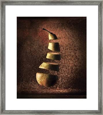 Sliced Up Pear Framed Print by Dirk Ercken