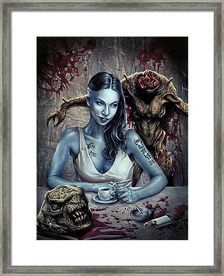 Slicer Dragon Chronicles - Coffee Please Framed Print by Brent Schreiber