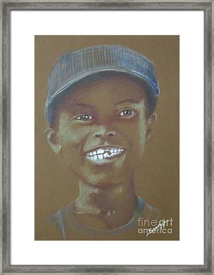 Small Boy, Big Grin -- Retro Portrait Of Black Boy Framed Print by Jayne Somogy