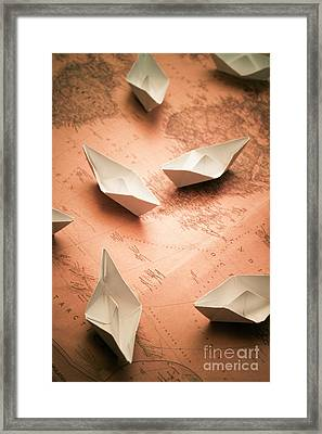 Small Paper Boats On Top Of Old Map Framed Print by Jorgo Photography - Wall Art Gallery