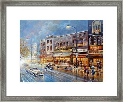 Small Town On A Rainy Day In 1960 Framed Print by Gina Femrite