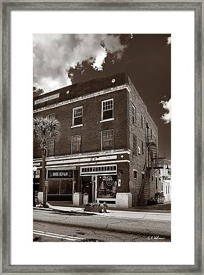 Small Town Shops - Sepia Framed Print by Christopher Holmes