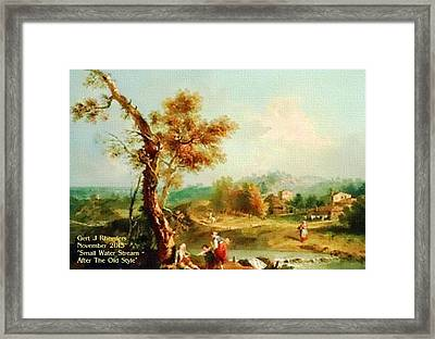 Small Water Stream -  After The Old Style H A Framed Print by Gert J Rheeders