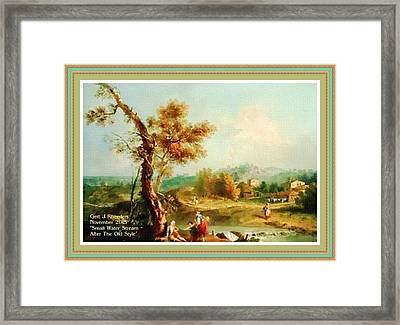 Small Water Stream -  After The Old Style H A With Decorative Ornate Printed Frame. Framed Print by Gert J Rheeders