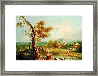 Small Water Stream -  After The Old Style H B Framed Print by Gert J Rheeders