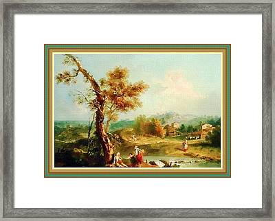 Small Water Stream -  After The Old Style H B With Decorative Ornate Printed Frame. Framed Print by Gert J Rheeders