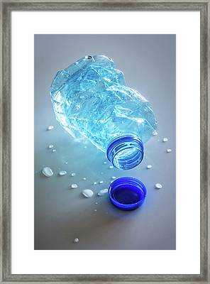 Smashed Water Bottle Framed Print by Carlos Caetano