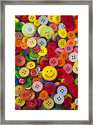 Smiley Face Button Framed Print by Garry Gay