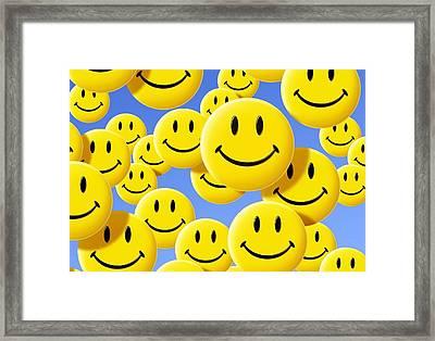 Smiley Face Symbols Framed Print by Detlev Van Ravenswaay