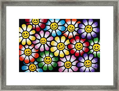 Smiley Flower Faces Framed Print by Tim Gainey