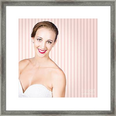 Smiling Girl With Model Hairstyle And Light Makeup Framed Print by Jorgo Photography - Wall Art Gallery