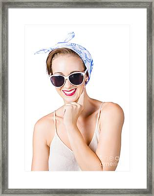 Smiling Pin-up Girl Framed Print by Jorgo Photography - Wall Art Gallery