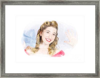 Smiling Pinup Cleaner With Retro Hair And Makeup  Framed Print by Jorgo Photography - Wall Art Gallery
