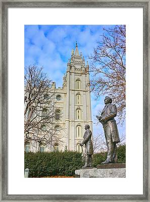 Smith Statues And Mormon Temple Framed Print by Buck Buchanan