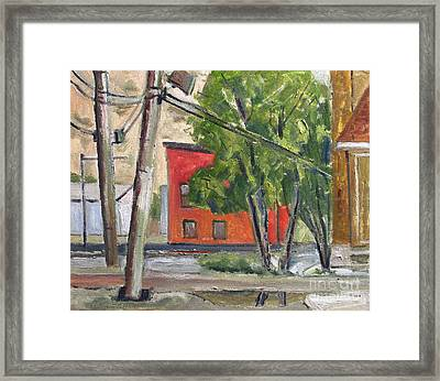 Smitty Mcmusselman's Pub And Grub Across The River Plein Air Framed Framed Print by Charlie Spear