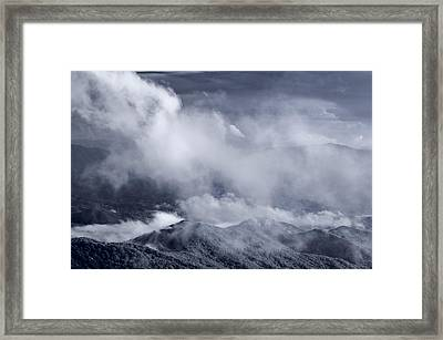 Smoky Mountain Vista In B And W Framed Print by Steve Gadomski