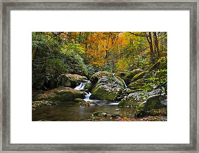 Smoky Mountain Waterfall Framed Print by Rich Franco