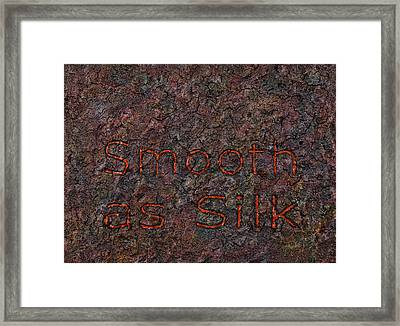 Smooth As Silk Framed Print by James W Johnson
