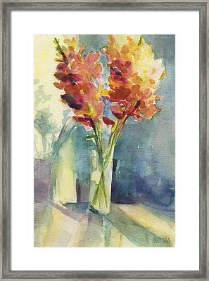 Snapdragons In Morning Light Floral Watercolor Framed Print by Beverly Brown