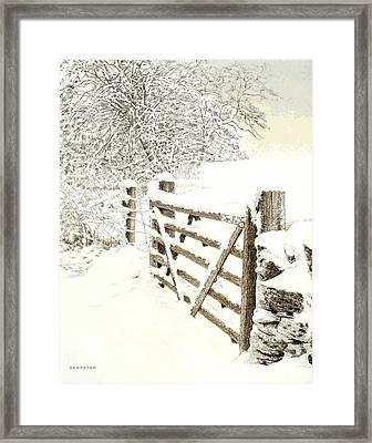 Snow On A Gate Framed Print by Alwyn Dempster Jones