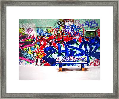 Snow And Graffiti Framed Print by Tara Turner